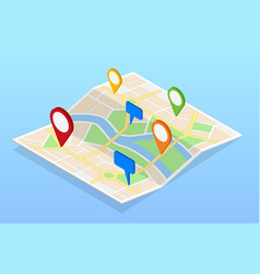 isometric city navigation map with pins or gps map vector image