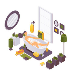 Isometric girl in bathtub relaxing and vector