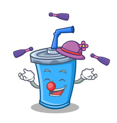 Juggling soda drink character cartoon vector