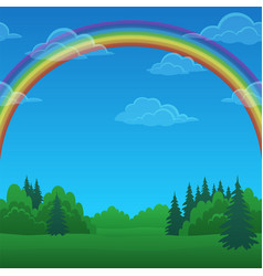 Landscape rainbow and forest vector