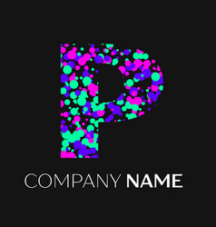 Letter p logo with pink purple green particles vector