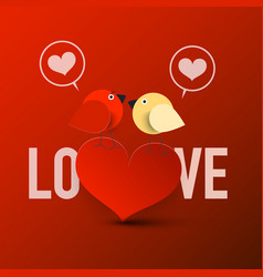 love symbol with heart and birds in love on red vector image