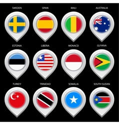 Map marker with flag-set third vector image