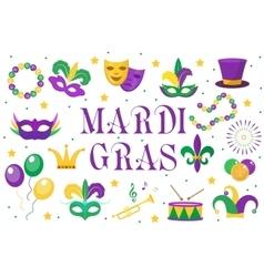 Mardi Gras carnival set icons design element vector image