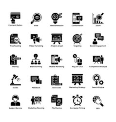 market and economic glyph icons vector image