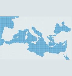 Mediterranean sea pixel gray map vector