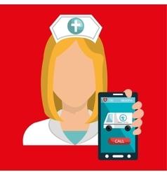 Nurse smartphone care health vector