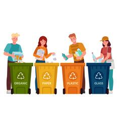 people sorting garbage men and women separate vector image