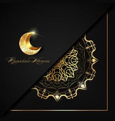 Ramadan kareem luxury black square invitation vector
