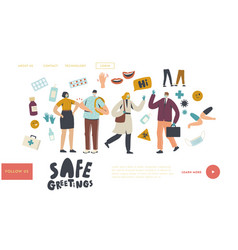 Safe noncontact greet landing page template vector