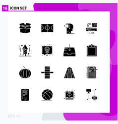 Set 16 solid glyphs on grid for party vector