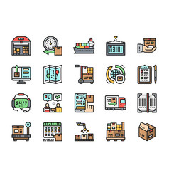 set delivery flat color icons warehouse cargo vector image