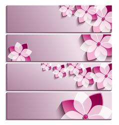 set horizontal banners with sakura flower vector image