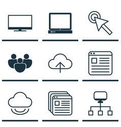 Set of 9 web icons includes display virtual vector