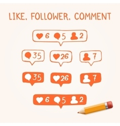 Set of Doodle like follower comment icons vector image