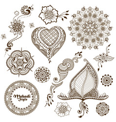 set of ornaments in indian style vector image