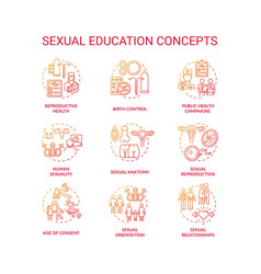 Sexual education concept icons sets vector
