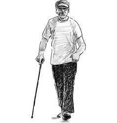 Sketch an old man on a stroll vector