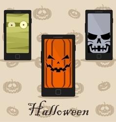 Smart phones with halloween wallpaper vector