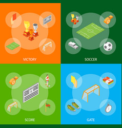 soccer sport game signs 3d banner set isometric vector image