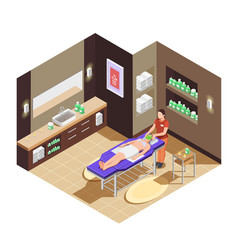 Spa beauty salon isometric composition vector