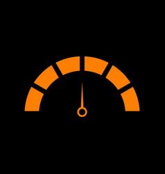 speedometer sign orange icon on vector image