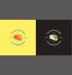 tacos logo taco silhouette vector image
