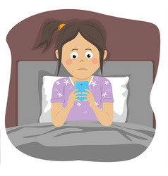 teenager girl uses smartphone in bed at night vector image
