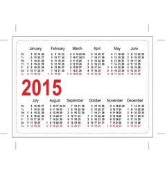 Template pocket calendar 2015 vector image