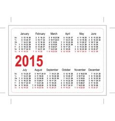 Template pocket calendar 2015 vector