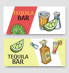 tequila bar set banners vector image