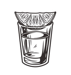 tequila cocktail shot with lime and salt vector image