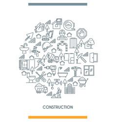 thin line design construction concepte vector image