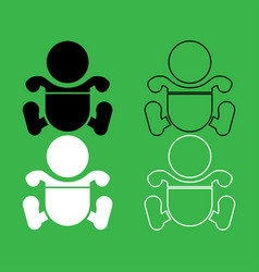 toddler boy with diapers icon black and white vector image