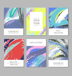 Trendy backgrounds with hand drawn textures vector