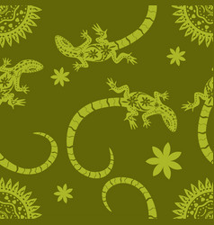 Tropical background flowers sun and lizards vector