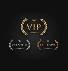 vip premium and exclusive sign with laurel wreath vector image
