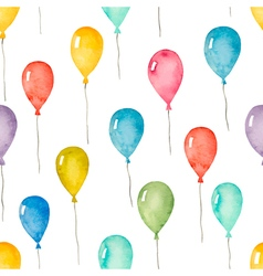 Watercolor seamless pattern with colorful balloons vector