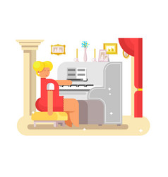 Woman play on piano vector
