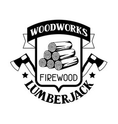Woodworks label with firewood and axe emblem for vector