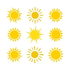 Yellow sun set icons isolated on white background vector image