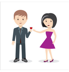 couple or collegues celebrating holiday with glass vector image
