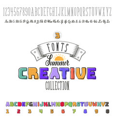 Font handmade -summer- colorful modular and hand vector