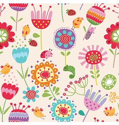 Funny bird seamless pattern vector image vector image