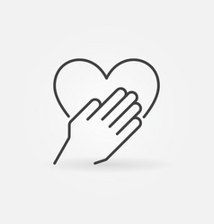 hand with heart concept outline icon vector image