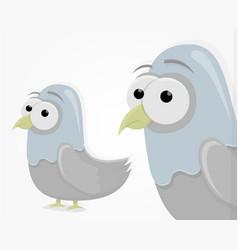 sad funny pigeon in cartoon style cartoon vector image
