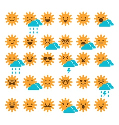 set of suns with different emotions vector image vector image