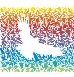 Abstract rainbow predator bird and its prey vector image vector image