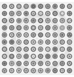 Car wheel set rims icons vector