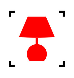 lamp sign red icon inside vector image